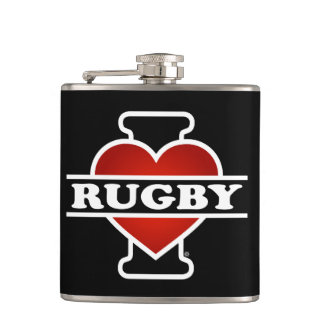 I Love Rugby Hip Flask