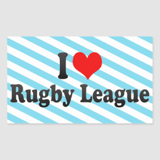 I love Rugby League Rectangular Stickers