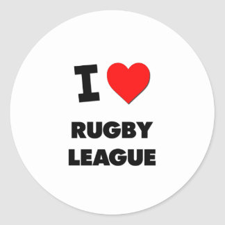 I Love Rugby League Round Sticker
