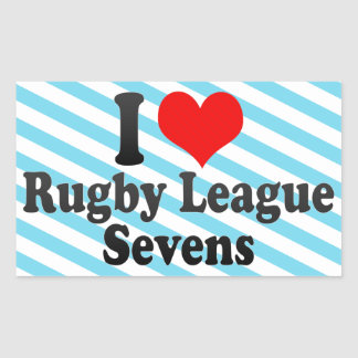 I love Rugby League Sevens Rectangular Stickers