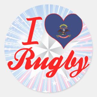 I Love Rugby North Dakota Round Sticker
