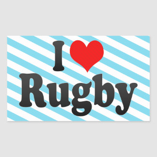 I love Rugby Rectangular Stickers