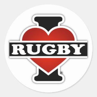 I Love Rugby Round Sticker
