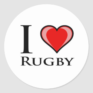 I Love Rugby Round Sticker