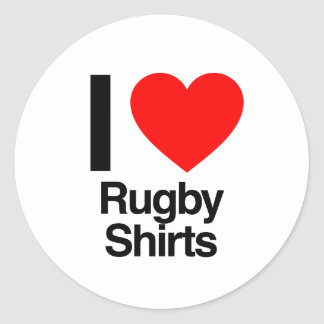 i love rugby shirts round sticker