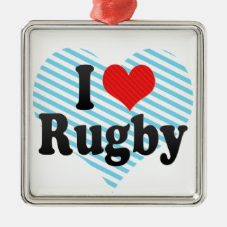 I Love Rugby Silver-Colored Square Decoration