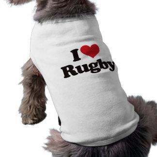 I Love Rugby Sleeveless Dog Shirt