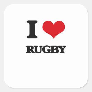 I Love Rugby Square Sticker