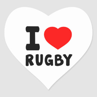 I Love Rugby Heart Sticker