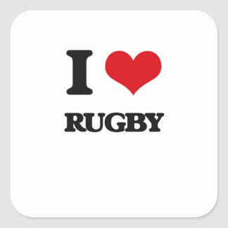 I Love Rugby Square Sticker