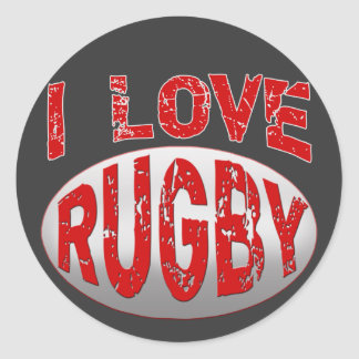I Love Rugby Tshirts, Apparel and Products Round Sticker