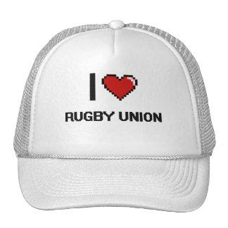 I Love Rugby Union Digital Retro Design Cap