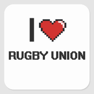 I Love Rugby Union Digital Retro Design Square Sticker