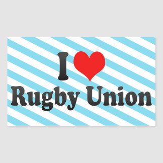 I love Rugby Union Rectangle Stickers