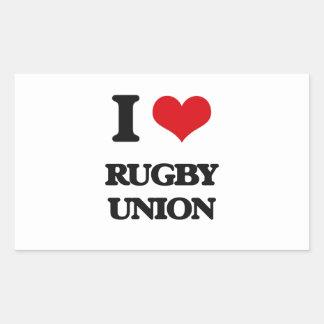I Love Rugby Union Rectangular Sticker