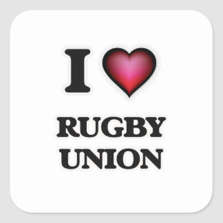 I Love Rugby Union Square Sticker