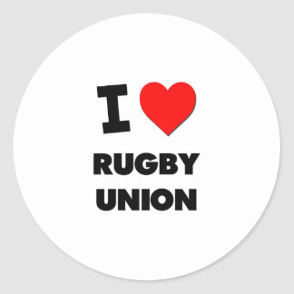 I Love Rugby Union Stickers