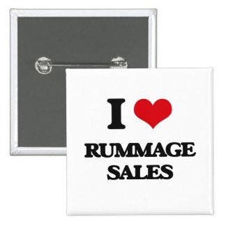 I Love Rummage Sales 2 Inch Square Button