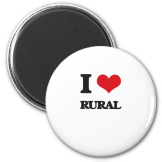 I Love Rural 6 Cm Round Magnet
