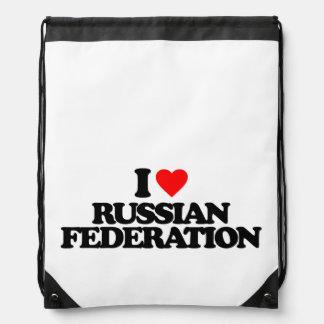 I LOVE RUSSIAN FEDERATION DRAWSTRING BACKPACKS