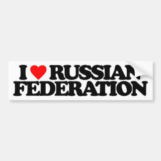 I LOVE RUSSIAN FEDERATION BUMPER STICKER