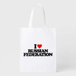 I LOVE RUSSIAN FEDERATION GROCERY BAGS