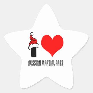 I Love Russian Martial Arts Design Star Stickers