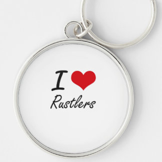 I Love Rustlers Silver-Colored Round Key Ring