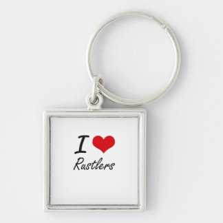 I Love Rustlers Silver-Colored Square Key Ring