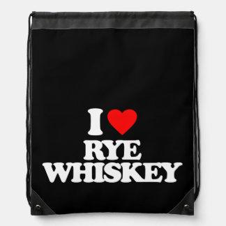 I LOVE RYE WHISKEY DRAWSTRING BAGS