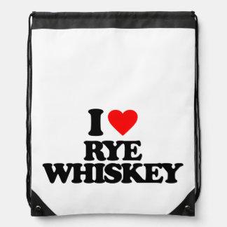 I LOVE RYE WHISKEY DRAWSTRING BAG