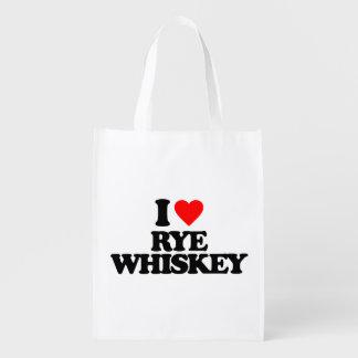 I LOVE RYE WHISKEY GROCERY BAGS