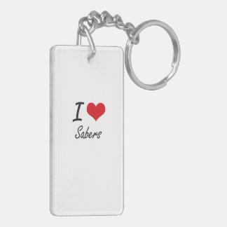 I Love Sabers Double-Sided Rectangular Acrylic Key Ring