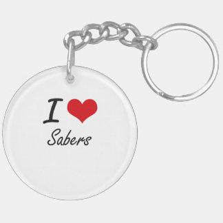 I Love Sabers Double-Sided Round Acrylic Key Ring