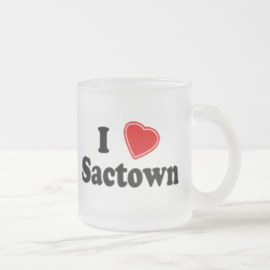 I Love Sactown Frosted Glass Coffee Mug