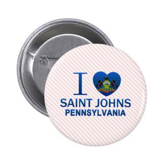I Love Saint Johns, PA Pinback Button