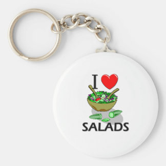 I Love Salads Basic Round Button Key Ring