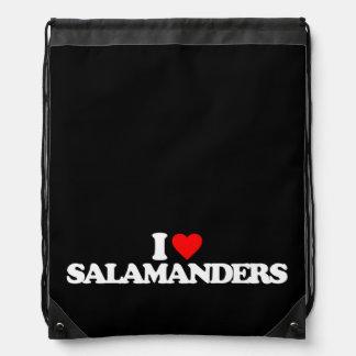 I LOVE SALAMANDERS CINCH BAG
