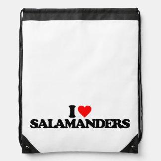 I LOVE SALAMANDERS CINCH BAGS