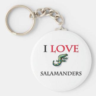 I Love Salamanders Basic Round Button Key Ring