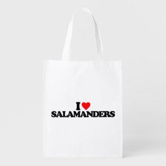 I LOVE SALAMANDERS REUSABLE GROCERY BAGS