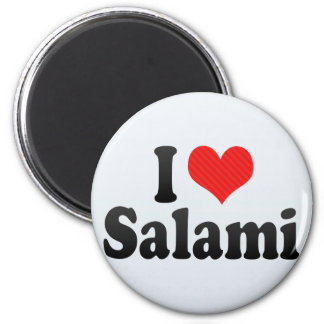 I Love Salami 6 Cm Round Magnet