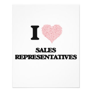 I love Sales Representatives (Heart made from word 11.5 Cm X 14 Cm Flyer