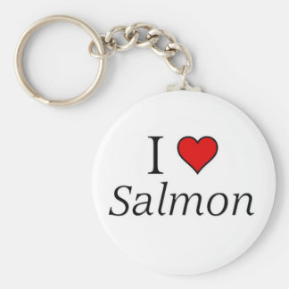 I love salmon basic round button key ring