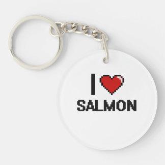 I Love Salmon Single-Sided Round Acrylic Keychain
