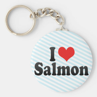 I Love Salmon Keychains