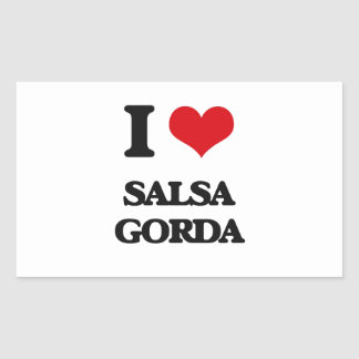 I Love SALSA GORDA Rectangular Stickers
