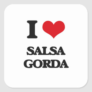 I Love SALSA GORDA Square Stickers