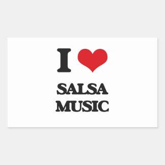 I Love SALSA MUSIC Rectangular Stickers
