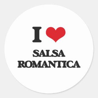 I Love SALSA ROMANTICA Round Stickers